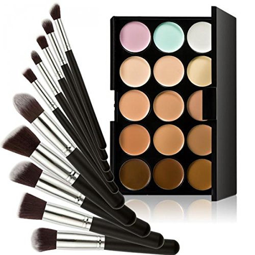 Generic 15-Color Concealer Palette+10Pcs Eyebrow Power Makeup Brush Black silver
