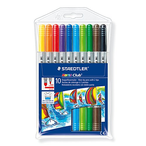 Staedtler Noris Club Double Ended Fibre Tips (Pack of 10) 320NWP10 Test