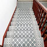 Liveinu Moderner Stil Selbstklebend Stufenmatten Treppen Teppich Waschbar Starke Befestigung Anthrazit Treppen-Matten 26x75cm (7 Stück) Grau Rechteck