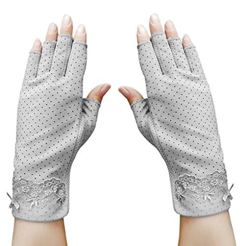 Sommer Halbfinger Handschuhe Baumwolle Fahrradhandschuhe Kurz Spitzenhandschuhe Anti-Rutsch, Anti-UV Schutz, Dünn Sonnenschutz Fäustlinge Gloves für Fahren Golf Outdoor Motorrad Radfahren (Grau A)