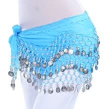Dance Fairy Belly Dance Hip Scarf Dancing Costume with 128 Silver Coins
