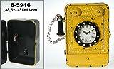 DonRegaloWeb - Reloj con caja cuelga llaves para colgar de la pared, de metal con forma de teléfono decorado en color amarillo