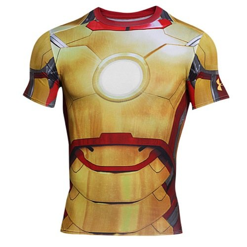Kostüm America - Under Armour Herren Fitness - T-Shirt und Tank Iron Man 2 Comp Short Sleeve, Gold, XL