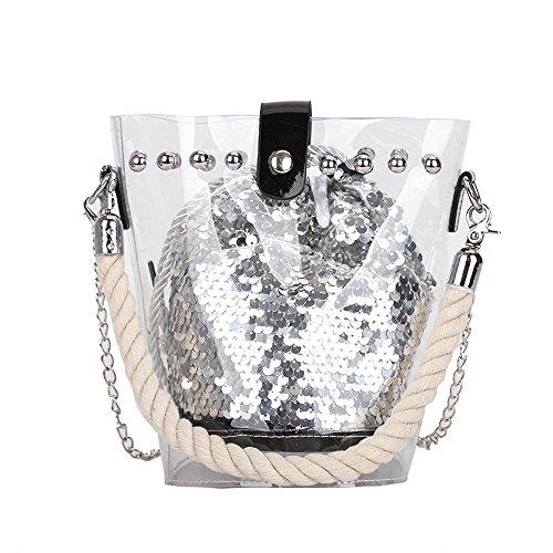 Piebo Neue Handtasche Damen Umhängetasche Schultertasche Transparente Strand Elegant Tasche Mädchen Frauen Mode 2018 Transparente Kulturtasche Schminktasche 2 in 1 (Silber) -