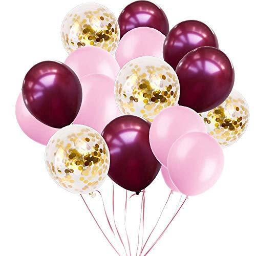 Erosion 70 Stück Party Ballons Latexballons und Konfetti Ballons Geburtstag Ballons Party Decor für Geburtstag Hochzeit Abschlussfeier Weihnachten Baby Shower - Wein Rot & Baby Pink & Gold