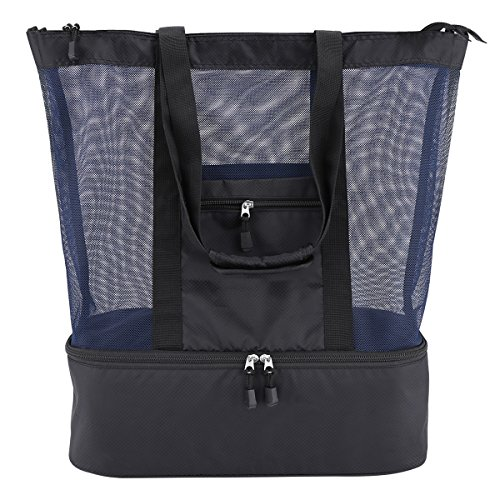 Casefashion Strandtasche mit Wasserdichter Kühlfach Hoch Kapazität Reißverschluss Größenangabe 51 x 41 x 17 CM, 360g Ideal für Reise oder Ausflug mti Kindern Beachbag Urlaubstasche(Schwarzblau)
