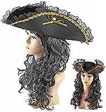 Piraten-Hut Schwarz Pirat Dreispit Braut z Kapitän Seeräuber-Mütze Leder-Imitat Piratenhut Schwarz Black Verkleidung Karibik Damen Kostüm