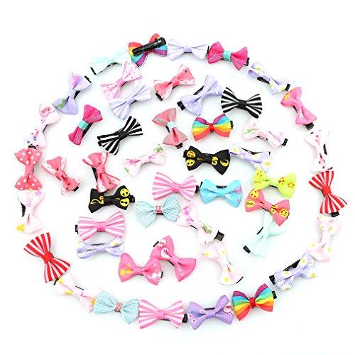 CanVivi Kinder Schleife Set 50 Stück Haarclips Haarklamme Haarspangen für Baby Kleinkind Kinder Mädchen mit Zufällige Farben