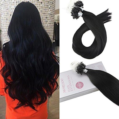 Moresoo 18zoll/45cm 50g Micro-Ring/Loop Hair Extensions Brasilianisches Remy Menschenhaar 100% Echthaar Remy Haarverlängerung Jet Schwarz #1 1g/Strähne