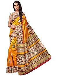 Pisara Women's Kalamkari Printed Art Silk Saree With Blouse Piece,Yellow Sari