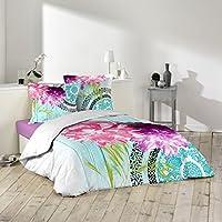 Douceur d'Intérieur Arya–Juego de funda nórdica y 2fundas de almohada, de algodón, multicolor, algodón, multicolor, 240 x 260 cm