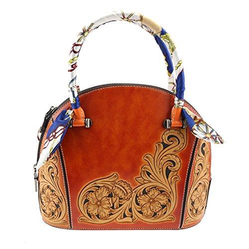 Damem Handtasche Echtes Leder Tragbar Tasche Shaped Shell Geschnitzt von Hand Orange