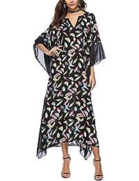 YAOMEI Robe Casual Femme Été, Manches Courtes Longue Maxi T-Shirt Gilet  Tenue décontractée avec Retro Floral Imprimé, pour Bureau Plage… fdd76745a15