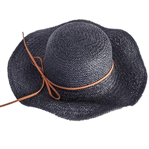 Ouvert Brown Knit Tressé Garniture Ventilé De Plage En Coton Chapeau De Soleil Black
