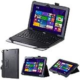 VOVIPO Premium Ledertastatur Slim Fit Gehäusehalter für ODYS Wintab 10 2 in1 - 10.1 Windows Tablet (Schwarz)