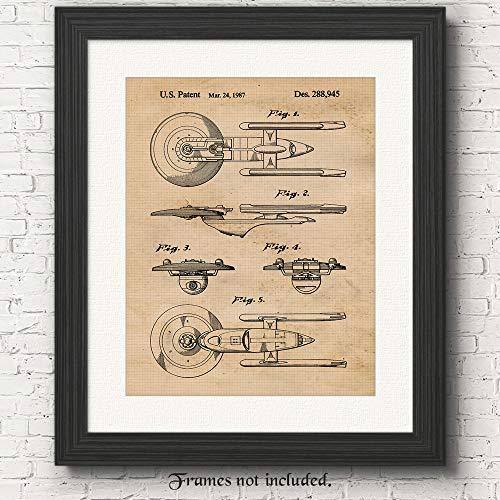 Original Star Trek Patent Art Poster Prints - 11 x 14 ungerahmt - tolle Wanddekoration als Geschenk für Trekkies, Man Cave, Garage, Jungenzimmer, Büro