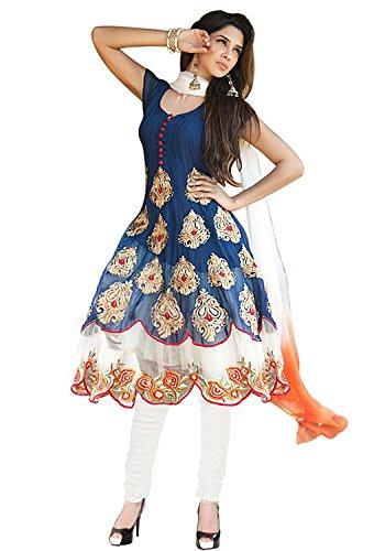 Clickedia Women Gorgette Semi-Stitched Anarkali Dress Material(Khwaish - Bluee_White & Blue_Free Size)