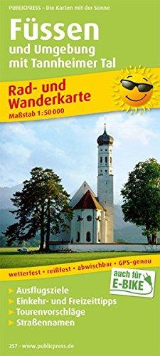 Füssen und Umgebung mit Tannheimer Tal: Rad- und Wanderkarte mit Ausflugszielen, Einkehr- & Freizeittipps, Nebenkarten Lechstausee und Tannheimer Tal. 1:50000 (Rad- und Wanderkarte/RuWK)