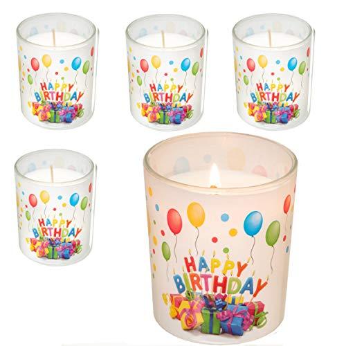Smart Planet® 4er Set Happy Birthday Kerze im Glas - Geburtstagskerze schönes Geschenke Motiv Geschenk Idee zum Geburtstag - Deko Kerzen 4 Stück