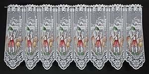 Rideaux brise-bise Vaches et alpins Berger coloré imprimé 45 cm de haut | La largeur est réglable en fonction du nombre de pièces en pas de 34 cm. | Couleur: mehrfar