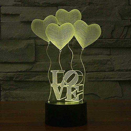 LED Nachtlicht,KINGCOO Magical 3D Visualisierung Amazing Optische Täuschung Touch Control Light 7 Farben ändern Schreibtischlampen für Kinderzimmer Home Decoration Best Geschenk (Love) - 6