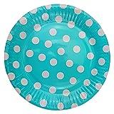 72 Pappteller Ø 23 cm - Bunt, gepunktet, rund, lebensmittelecht, beschichtet, je 12x blau, grün, gelb, pink, lila und rosa - 2