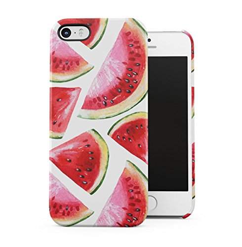 Watermelon Kawaii Face Apple iPhone 5 , iPhone 5S , iPhone SE Snap-On Hard Plastic Protective Shell Case Cover Custodia Watercolor Watermelon