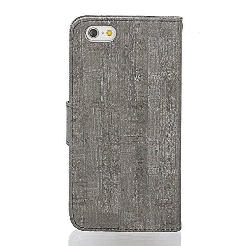 Étuis de portefeuille iPhone Cross Pattern pour iPhone SE 5S 5/6 / 6S / 6Plus / 6S Plus / iPhone 7 / iPhone 7 Plus (Xperia XZ/XZs, BK/BR(Cross)) Black/M