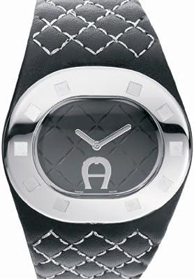 Aigner A21223 - Reloj analógico de mujer de cuarzo con correa de piel negra