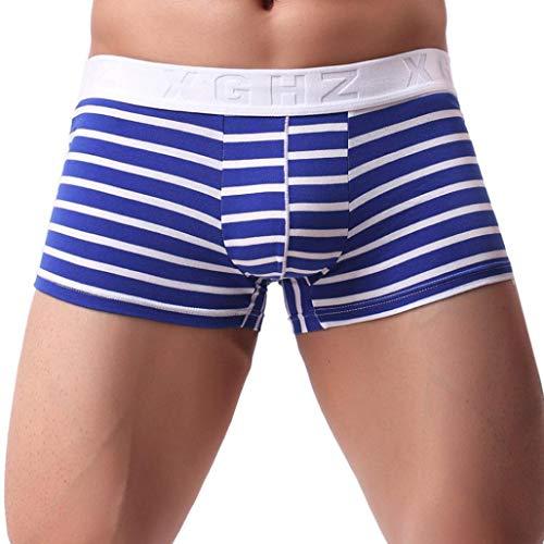 Riou Herren Boxershorts Retroshorts Bequeme Herren Unterwäsche Männer Unterhosen Soft Slips Striped String Shorts Underpant Print Sexy Dessous (M, Blau)