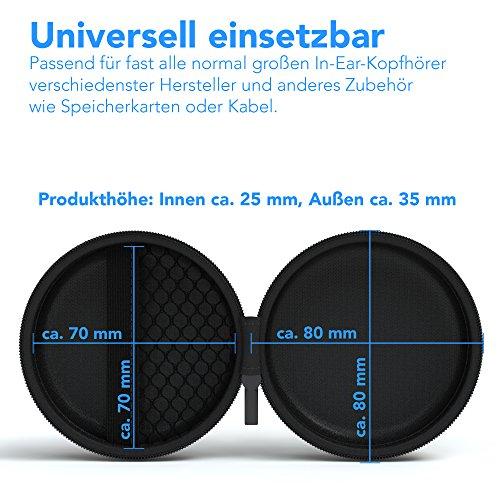 EAZY CASE Universal Tasche für In-Ear Kopfhörer mit Netzfach - Hardcase Aufbewahrungsbox, Schutztasche mit umlaufenden Reißverschluss, extra klein, rund, Schwarz - 3