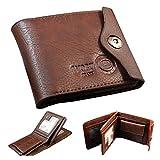 Jacentown® hombres cartera monedero wallet billetera de cuero con tarjetas de identificación bolsillo de la moneda con botón delgado del monedero Nuevo