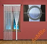 AeMBe - Spaghetti - Fadenvorhang Fadengardine Türvorhang - Breite: 300 cm, Größe: 180 cm - Arctic weiß / schneeweiß - Höchste Qualität