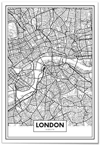 Panorama® Poster, dekorativer Druck, Karte von London 21 x 30 cm | Gedruckt auf qualitativ hochwertigem Poster | Wandbild | Drucke zum Einrahmen oder Schenken | Dekoration für das Zuhause