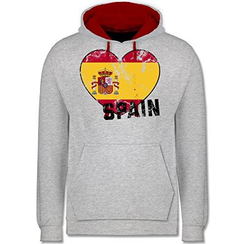 Fußball-WM 2018 - Russland - Spain Herz Vintage - Kontrast Hoodie Grau Meliert/Rot