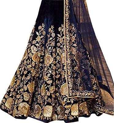 A.R.Sundaram Fashion Women's Velvet Lehenga Choli (ARS-81 _Blue_ Free Size)