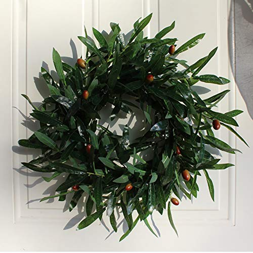 """18\""""Olivenkranz, Türkranz natürliche Reben grüne Blätter Kranz für Haustür, Grün Kränze, künstliche Kranz im Freien oder innen"""