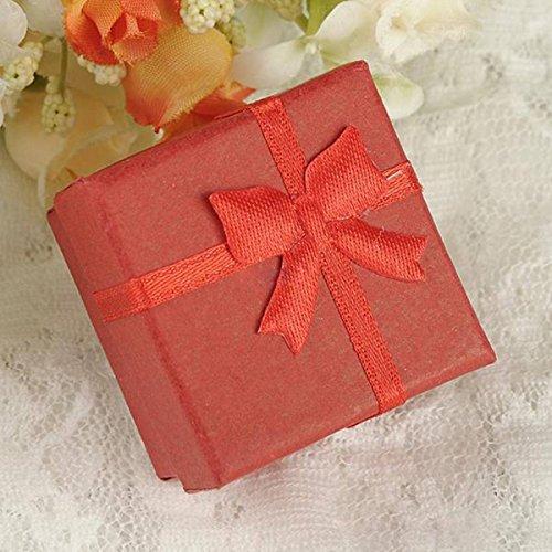 KING DO WAY 1PCS carta quadrata Bowknot dell'anello dell'orecchino della collana dei monili Gift Box vetrina rosso - Rosa Anelli Dell'orecchio