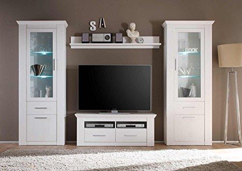 Wohnzimmerschrank, Wohnwand, Schrankwand, Anbauwand, Fernsehwand, Wohnzimmerschrankwand, Wohnschrank, Pinie, Weiß