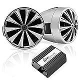 Lanzar OPTIMC90 Optidrive - Amplificatore da auto/moto, 700 W, con 4 canali e doppio altoparlante con alloggiamento in alluminio pressofuso impermeabile
