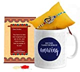 TIED RIBBONS Rakhi Gifts for Brothers (Designer Rakhi, Printed Coffee Mug, Rakshabandhan Special Card, Roli Chawal)