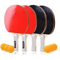 Sportneer Tischtennis Ping Pong Set 4er Set Premium Paddles/Rackets und 6 Tischtennisbälle - Soft Sponge Rubber - Ideal für Profi- & Freizeitspiele - 2 oder 4 Spieler - Perfektes Set On The Go