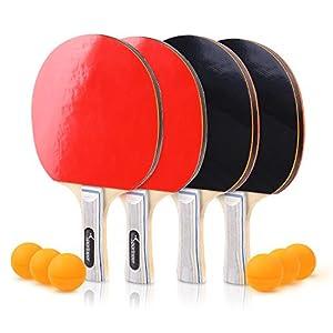 Sportneer Tischtennis Ping Pong Set 4er Set Premium Paddles/Rackets und 6 Tischtennisbälle – Soft Sponge Rubber – Ideal für Profi- & Freizeitspiele – 2 oder 4 Spieler – Perfektes Set On The Go