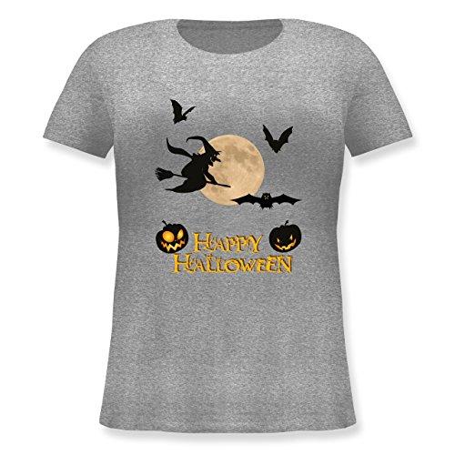 Halloween - Happy Halloween Mond Hexe - XL (50/52) - Grau meliert - JHK601 - Lockeres Damen-Shirt in großen Größen mit Rundhalsausschnitt