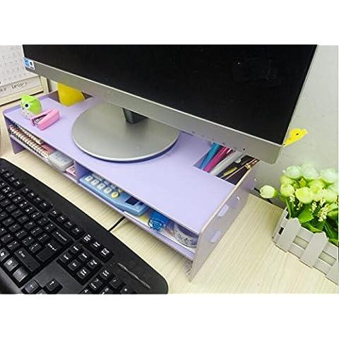 ZR I monitor dei computer aumento della shelf Desktop notebook baia. di base del collo. vano portaoggetti in legno , purple