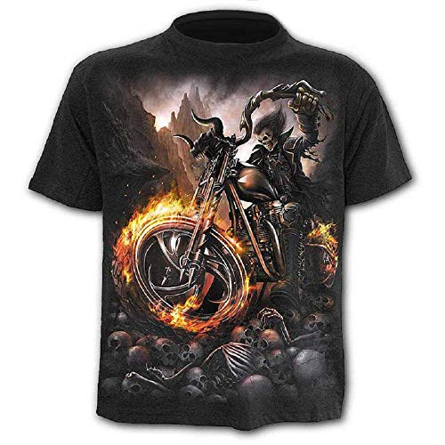 Talla XL - C011 - T-Shirt - Camiseta - 3D - Mangas Cortas - Hombre - Mujer - Unisex - Divertido - Regalo - Accesorios - Cosplay - Cráneo - Steampunk - Gótico - Moteros - Harley Davidson