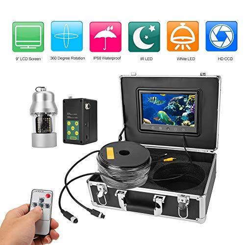 Tragbare 9 Zoll Unterwasser Fischfinder Videokamera IP68 wasserdichte 360 Grad Drehkamera mit 50m Kabel für Hochseefischen, Eisfischen, Brunnen Inspektion usw.(EU) Tragbaren Sonar-fishfinder