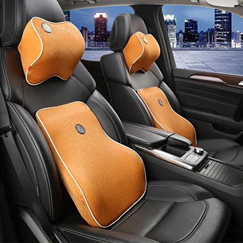 AceWoo Car Kopfstütze Lendenkissen Memory-Schaum langsame Erholung Taille Nackenkissen Kissen Set zwei @ Orange Memory-Schaum für Autositze -