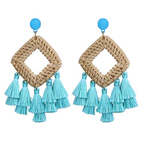 ASAP CHIC Quaste Ohrringe für Frauen Bohemian Statement Handmade Woven Drop baumeln Ohrringe - Metall Gewebten Gürtel