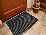 MEDIUM GREY /BLACK NON SLIP DOOR MAT RUBBER BACKED RUNNER BARRIER MATS RUG PVC EDGED KITCHEN MAT(60 X 80 CM)